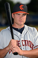 Connecticut Tigers shortstop Garrett Mattlage (1) poses for a photo before a game against the Batavia Muckdogs on July 21, 2014 at Dwyer Stadium in Batavia, New York.  Connecticut defeated Batavia 12-3.  (Mike Janes/Four Seam Images)