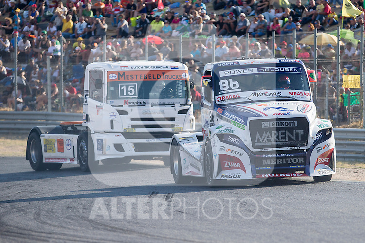 Dutch driver Erwin Klein Nagelvoort belonging Dutch team Erwin Klein Nagelvoort Czech driver Jiri Forman belonging Czech team Buggyra International Racing System  during the fist race R1 of the XXX Spain GP Camion of the FIA European Truck Racing Championship 2016 in Madrid. October 01, 2016. (ALTERPHOTOS/Rodrigo Jimenez)
