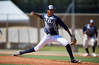Jackxarel Lebrón Figueroa during the WWBA World Championship at the Roger Dean Complex on October 18, 2018 in Jupiter, Florida.  Jackxarel Lebrón Figueroa is a right handed pitcher from Maunabo, Puerto Rico who attends International Baseball Academy.  (Mike Janes/Four Seam Images)