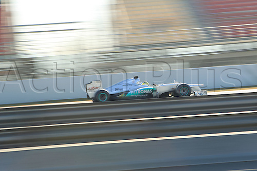 24.02.2012. Barcelona Spain.  Day testing.  Nico Rosberg on track in his Mercedes during the final day of the test.