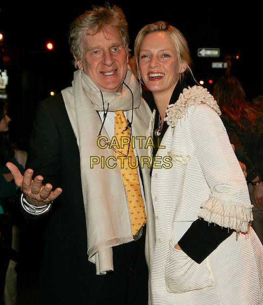 ROBERT THURMAN & UMA THURMAN.At Longchamp Store Grand Opening in Soho, New York, NY, USA..May 23rd, 2006.Photo: Jackson Lee/AdMedia/Capital Pictures.Ref: JL/ADM.half length white coat hand in pocket scarf hand.www.capitalpictures.com.sales@capitalpictures.com.© Capital Pictures.