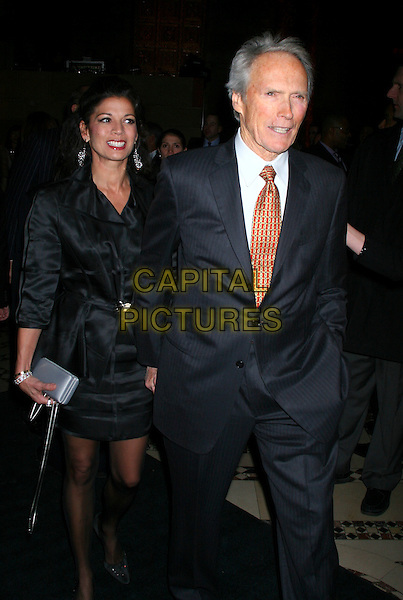 DINA EASTWOOD  & CLINT EASTWOOD.The 2006 National Board Of Review Awards Gala at Cipriani 42nd Street in New York City, New York, USA..January 9th, 2007.full length black satin dress blue suit husband wife married.CAP/IW.©Ian Wilson/Capital Pictures
