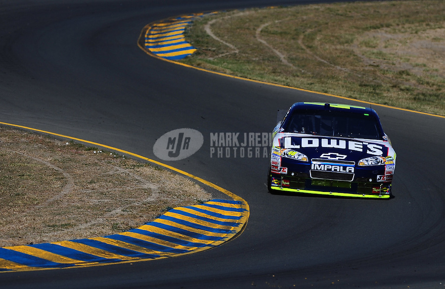 Jun. 19, 2010; Sonoma, CA, USA; NASCAR Sprint Cup Series driver Jimmie Johnson during practice for the SaveMart 350 at Infineon Raceway. Mandatory Credit: Mark J. Rebilas-