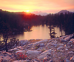 USA, California, Sierra Nevada Mountains.   Sunset over Skelton Lake.