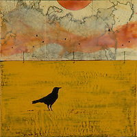 Mixed media encaustic photo painting of crow and orange sky over antique map. SOLD