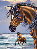 Interlitho, Lorenzo, REALISTIC ANIMALS, paintings, 2 brown horses, beach(KL3883,#A#) realistische Tiere, realista, illustrations, pinturas ,puzzles