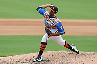 Bowie, MD - May 21, 2017: Bowie Baysox pitcher Jesus Liranzo (30) throws a strike during the MiLB game between Binghamton and Bowie at  Baysox Stadium in Bowie, MD.  (Photo by Elliott Brown/Media Images International)