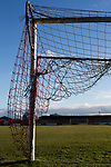 One of the goal nets at Wincham Park, home of Witton Albion before their Northern Premier League premier division fixture with Warrington Town. Formed in 1887, the home team have played at their current ground since 1989 having relocated from the Central Ground in Northwich. With both team chasing play-off spots, the visitors emerged with a 2-1 victory, the winner being scored by Tony Gray in second half injury time, watched by a crowd of 503.