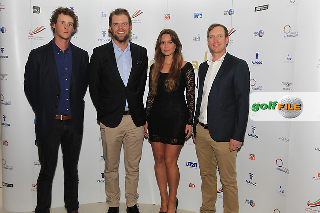 Thomas Pieters and Johan Carlsson during the 2015 Abu Dhabi Invitational Gala Evening held at The Viceroy Hotel, Yas Island, Abu Dhabi.: Picture Eoin Clarke, www.golffile.ie: 1/25/2015
