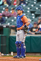 Durham Bulls catcher Luke Maile (46) during a game against the Buffalo Bisons on June 13, 2016 at Coca-Cola Field in Buffalo, New York.  Durham defeated Buffalo 5-0.  (Mike Janes/Four Seam Images)