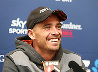 New Zealand captain Tim Southee speaks to the media. NZ & England T20 cricket team training at Hagley Oval in Christchurch, New Zealand on Thursday, 31 October 2019. Photo: Martin Hunter/ lintottphoto.co.nz