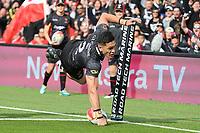 New Zealand winger Dallin Watene-Zelezniak scores a try during the Rugby League World Cup 2017 Pool B match - New Zealand Kiwis v Tonga played at Waikato Stadium, Hamilton, New Zealand on Saturday 11 November  2017.  <br /> <br /> Copyright photo: © Bruce Lim / www.photosport.nz MANDATORY CREDIT/BYLINE : SWpix.com/PhotosportNZ