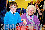 Current and past pupils, Christian Foley(5yrs) and Mary Lyons(102yrs) who are the youngest and oldest students of Drumtrasna NS, Abbeyfeale, met last Friday for the official opening of the new school..Ann Rothery(principal) School: