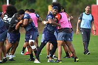 Warriors players practice their wrestling skills.<br /> Vodafone Warriors training session. Mt Smart Stadium, Auckland, New Zealand. NRL Rugby League. Wednesday 9 May 2018 &copy; Copyright photo: Andrew Cornaga / www.photosport.nz