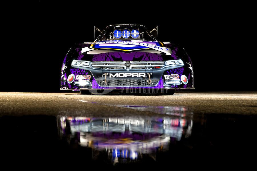Jan 15, 2015; Jupiter, FL, USA; Portrait of the funny car of NHRA driver Jack Beckman during preseason testing at Palm Beach International Raceway. Mandatory Credit: Mark J. Rebilas-USA TODAY Sports