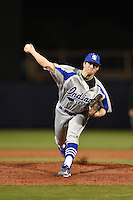 Indiana State Sycamores pitcher Jeremy McKinney (30) delivers a pitch during a game against the Vanderbilt Commodores on February 20, 2015 at Charlotte Sports Park in Port Charlotte, Florida.  Vanderbilt defeated Indiana State 3-2.  (Mike Janes/Four Seam Images)