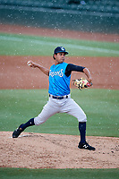 Tampa Yankees starting pitcher Deivi Garcia (4) delivers a warmup pitch during a game against the Bradenton Marauders on August 12, 2018 at LECOM Park in Bradenton, Florida.  The game was suspended in the bottom of the first inning due to weather.  (Mike Janes/Four Seam Images)