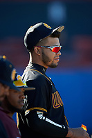 Bethune-Cookman Wildcats José Carballo (10) during a game against the Wisconsin-Milwaukee Panthers on February 26, 2016 at Chain of Lakes Stadium in Winter Haven, Florida.  Wisconsin-Milwaukee defeated Bethune-Cookman 11-0.  (Mike Janes/Four Seam Images)