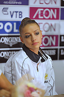 September 10, 2009; Mie, Japan; Portrait is of Evgeniya Kanaeva of Russia at press interview after winning gold in team AA and Event Finals at 2009 World Championships Mie. Photo by Tom Theobald. .