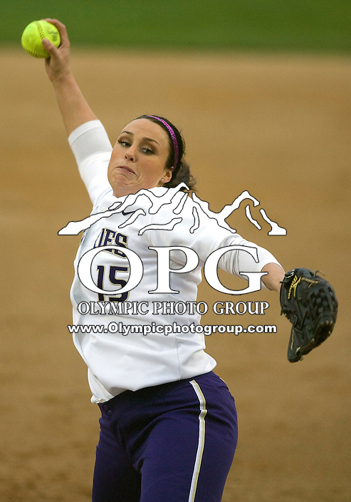 1 April 2010:  Washington Huskies all-american pitcher #15 Danielle Lawrie fires the ball to the plate against UCLA. UCLA defeated Washington 1-0 giving Danielle Lawrie her first loss of the season at Husky Softball Stadium in Seattle, WA.