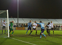 Grimsby Town players celebrate their second goal during the Vanarama National League match between Bromley and Grimsby Town at Hayes Lane, Bromley, England on 9 February 2016. Photo by Alan  Stanford.