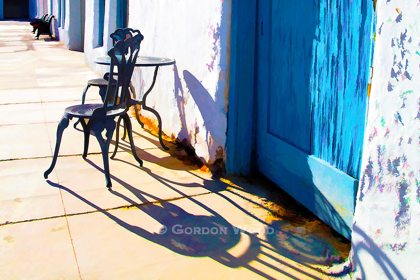 Cafe chairs & table outside Amargosa Opera House - Death Valley Junction