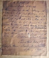 BNPS.co.uk (01202 558833)<br /> Pic:   WottonAuctionRooms/BNPS<br /> <br /> The reverse of the painting carries an inscription by Richard Poole King explaining the provenance back to around 1798.<br /> <br /> A 'lost' portrait of the great Romantic poet Samuel Taylor Coleridge which was rediscovered after two centuries has sold at auction for £62,000.<br /> <br /> The 11ins by 10ins oil painting of William Wordsworth's collaborator was bought into an auction house in south Gloucestershire by a local family who were 'decluttering' their house.<br /> <br /> Its reverse carries an inscription by the painter, William Shuter, stating the subject was Coleridge and the sitting was at Nether Stowey in Somerset, where the poet lived between 1797 and 1800.<br /> <br /> The portrait sparked a bidding war when it went under the hammer with Wotton Auction Rooms, achieving 62 times it's £1,000 pre-sale estimate.<br /> <br /> Shuter did a very similar portrait of Wordsworth, leading to the possibility they may have sat for a joint commission. The portrait of Wordsworth is in the Cornell University Library in New York.