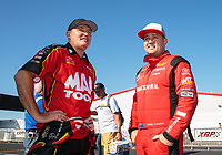 Sep 3, 2018; Clermont, IN, USA; NHRA top fuel driver Doug Kalitta (left) with teammate Richie Crampton during the US Nationals at Lucas Oil Raceway. Mandatory Credit: Mark J. Rebilas-USA TODAY Sports