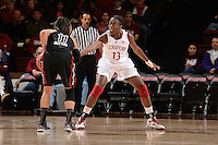 STANFORD, CA - NOVEMBER 26: Chiney Ogwumike of Stanford women's basketball on defense in a game against South Carolina on November 26, 2010 at Maples Pavilion in Stanford, California.  Stanford topped South Carolina, 70-32.