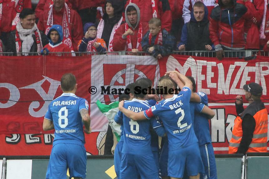Torjubel TSG 1899 Hoffenheim beim 0:2 von Roberto Firmino - 1. FSV Mainz 05 vs. TSG 1899 Hoffenheim, Coface Arena, 8. Spieltag