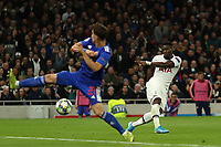 726th November 2019; Tottenham Hotspur Stadium, London, England; UEFA Champions League Football, Tottenham Hotspur versus Olympiacos; Serge Aurier of Tottenham Hotspur shoots and scores for 3-2 in the 73rd minute - Editorial Use