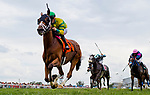 FRANKLIN, KY - SEPTEMBER 08: Angel of Mischief #7, ridden by Julien Leparoux, wins a race on the undercard on Kentucky Turf Cup Day at Kentucky Downs on September 8, 2018 in Franklin, Kentucky. (Photo by Scott Serio/Eclipse Sportswire/Getty Images)