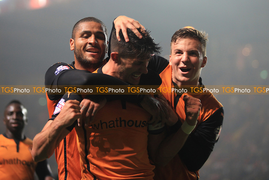 Leon Clarke and Lee Evans congratulate Wolves goalscorer, Danny Batth - Charlton Athletic vs Wolverhampton Wanderers - Sky Bet Championship Football at the Valley, Charlton, London- 16/09/14 - MANDATORY CREDIT: Paul Dennis/TGSPHOTO - Self billing applies where appropriate - contact@tgsphoto.co.uk - NO UNPAID USE