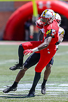 College Park, MD - April 27, 2019:  Maryland Terrapins wide receiver Dontay Demus (7) catches a pass during the spring game at  Capital One Field at Maryland Stadium in College Park, MD.  (Photo by Elliott Brown/Media Images International)