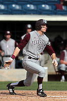 Jacob House #27 of the Texas A&M Aggies bats against the Pepperdine Waves at Eddy D. Field Stadium on March 23, 2012 in Malibu,California. Texas A&M defeated Pepperdine 4-0.(Larry Goren/Four Seam Images)
