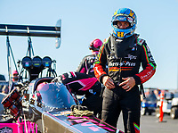 Oct 28, 2017; Las Vegas, NV, USA; NHRA top fuel driver Clay Millican during qualifying for the Toyota National at The Strip at Las Vegas Motor Speedway. Mandatory Credit: Mark J. Rebilas-USA TODAY Sports