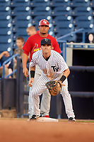 Tampa Yankees first baseman Tim Lynch (25) waits to receive a throw during a game against the Palm Beach Cardinals on July 25, 2017 at George M. Steinbrenner Field in Tampa, Florida.  Tampa defeated Palm beach 7-6.  (Mike Janes/Four Seam Images)