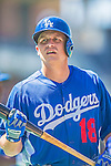 22 June 2013: Los Angeles Dodgers catcher Tim Federowicz awaits his turn in the batting cage prior to a game against the San Diego Padres at Petco Park in San Diego, California. The Dodgers defeated the Padres 6-1 in the third game of their 4-game Divisional Series. Mandatory Credit: Ed Wolfstein Photo *** RAW (NEF) Image File Available ***
