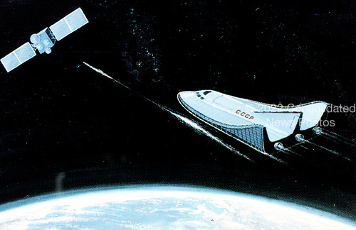 United States Department of Defense released its 1985 assessment of Soviet Military Power at the Pentagon in Washington, DC on April 2, 1985.  The release stated &quot;The Soviet space plane may well have an anti-satellite mission when operational&quot;<br /> Credit: Department of Defense via CNP