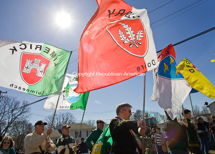 Waterbury, CT-06, March 2010-030610CM05   Flags fly before the start of the Ancient Order of Hibernian's annual St. Patrick's Day parade Saturday afternoon on Sylvan Ave. in Waterbury.         --Christopher Massa Republican-American