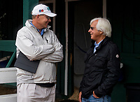 BALTIMORE, MD - MAY 16: Elliott Walden and Bob Baffert talk before Kentucky Derby winner, Justify, arrives for Preakness preparations after a flight from Louisville, at Pimlico Race Course on May 15, 2018 in Baltimore, Maryland (Photo by Scott Serio/Eclipse Sportswire/Getty Images)
