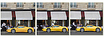 Waiter looking at a yellow Ferrari sports car, Paris, France.