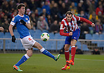 Aymeric Laporte (L) vies with Atletico Madrid's Uruguayan defender Diego Godin during the Spanish Copa del Rey (King's Cup) football match Atletico de Madrid vs Athletic de Bilbao at the Vicente Calderon stadium in Madrid on January 23, 2014.   PHOTOCALL3000/ DP