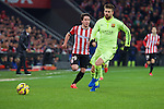 Football match during La Liga with the teams ath. club and fc barcelona in san mames stadium, bilbao<br /> pique fight the ball with unai lopez<br /> PHOTOCALL3000