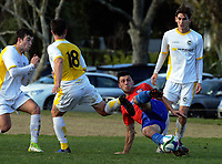 Action from the Northern Region Football League premiership football match between Eastern Suburbs and Central United at Madill's Farm in Kohimarama, Auckland, New Zealand on Saturday, 8 July 2017. Photo: Dave Lintott / lintottphoto.co.nz