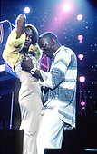 Whitney Houston (Aug 9, 1963 - Feb 11, 2012) and husband Bobby Brown - performing live on the My Love Is Your Love UK Tour at Wembley Arena in London UK - 16 Sep 1999.  Photo credit: George Chin/IconicPix