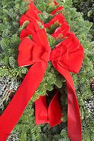 Christmas wreaths with red bows. Al's Garden Nursery. Tualtin. Oregon