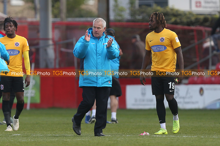 Dagenham and Redbridge manager Peter Taylor thanks the fans during Ebbsfleet United vs Dagenham & Redbridge, Vanarama National League Football at The Kuflink Stadium on 13th April 2019