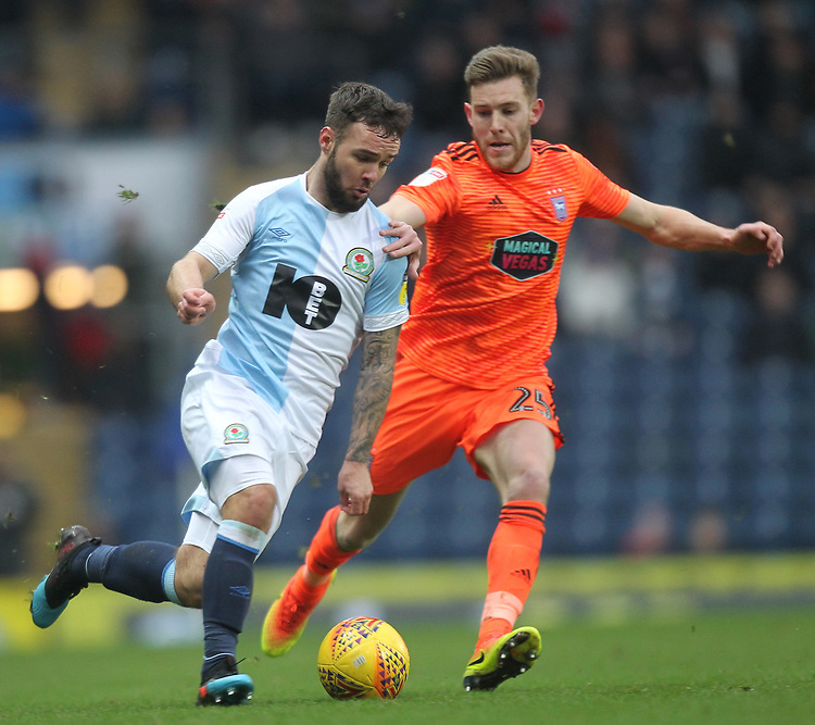 Blackburn Rovers Adam Armstrong Ipswich Town's Callum Elder<br /> <br /> Photographer Mick Walker/CameraSport<br /> <br /> The EFL Sky Bet Championship - Blackburn Rovers v Ipswich Town - Saturday 19 January 2019 - Ewood Park - Blackburn<br /> <br /> World Copyright &copy; 2019 CameraSport. All rights reserved. 43 Linden Ave. Countesthorpe. Leicester. England. LE8 5PG - Tel: +44 (0) 116 277 4147 - admin@camerasport.com - www.camerasport.com
