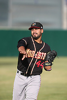 Antonio Senzatela (44) of the Modesto Nuts warms up before pitching during a game against the Lancaster JetHawks at The Hanger on April 25, 2015 in Lancaster, California. Lancaster defeated Modesto, 5-4. (Larry Goren/Four Seam Images)
